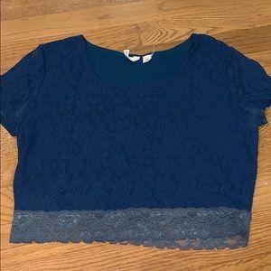 Navy lace crop top